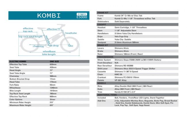 Yuba Electric Kombi Specs