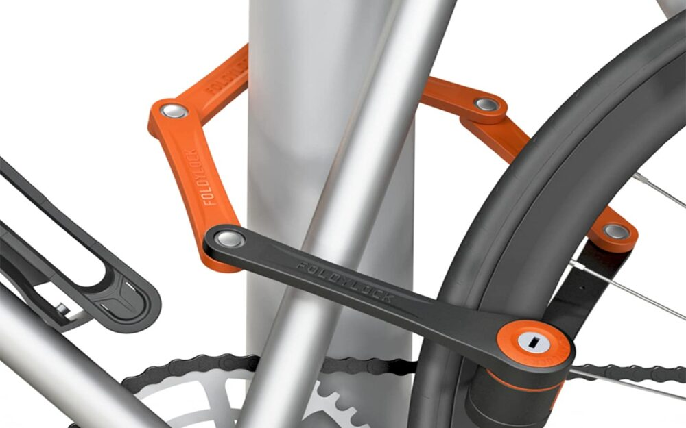 Foldylock Compact Locked On Bike Orange