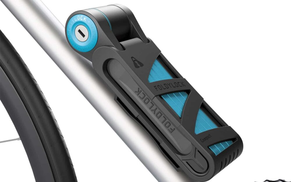 Foldylock Compact On Bike Blue