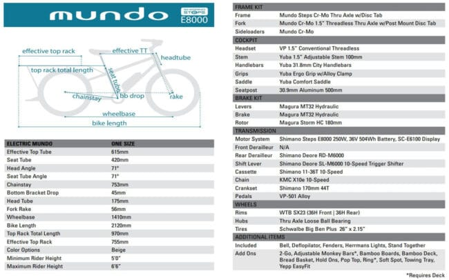 Yuba Electric Mundo Specs